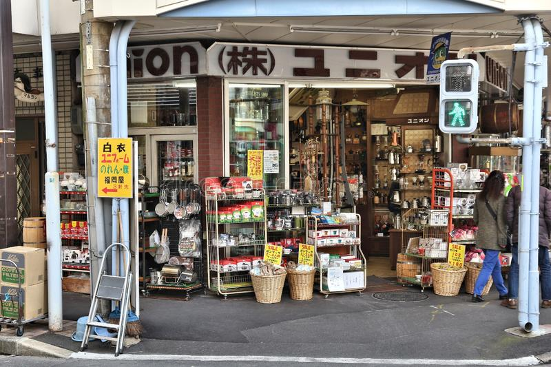 Tokyo cooking supplies. TOKYO, JAPAN - DECEMBER 4, 2016: Specialist cooking supplies store in Kappabashi area of Asakusa in Tokyo. Kappabashi Street is known for stock photography