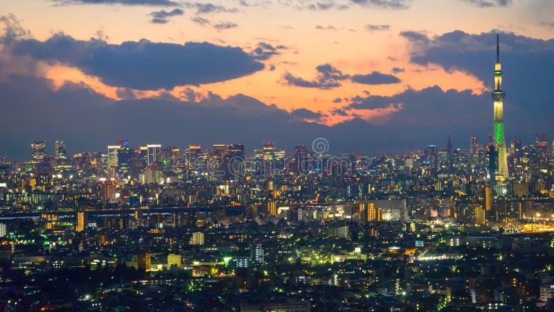 Tokyo in de schemering royalty-vrije stock foto