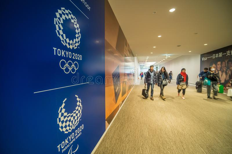 Welcome to Tokyo 2020 Olympic sign is seen at the arrival gate in Narita Airport, Tokyo royalty free stock photos