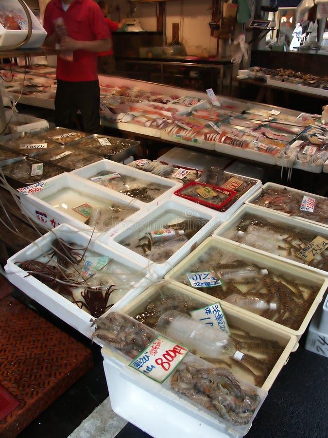 Tokyo fish market. Fish, crabs royalty free stock photography