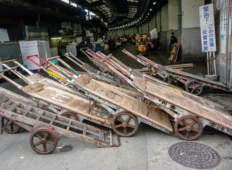 Tokyo Fish market. Old Transportation carts on the Tokyo Fish Market stock images