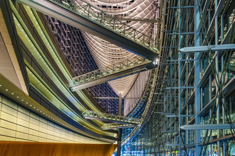 Tokyo Forum Building Interior View, Tokyo, Japan. TOKYO, JAPAN, JANUARY - 2019 - Interior view of famous tokyo forum building located at chyoda district, tokyo royalty free stock photos