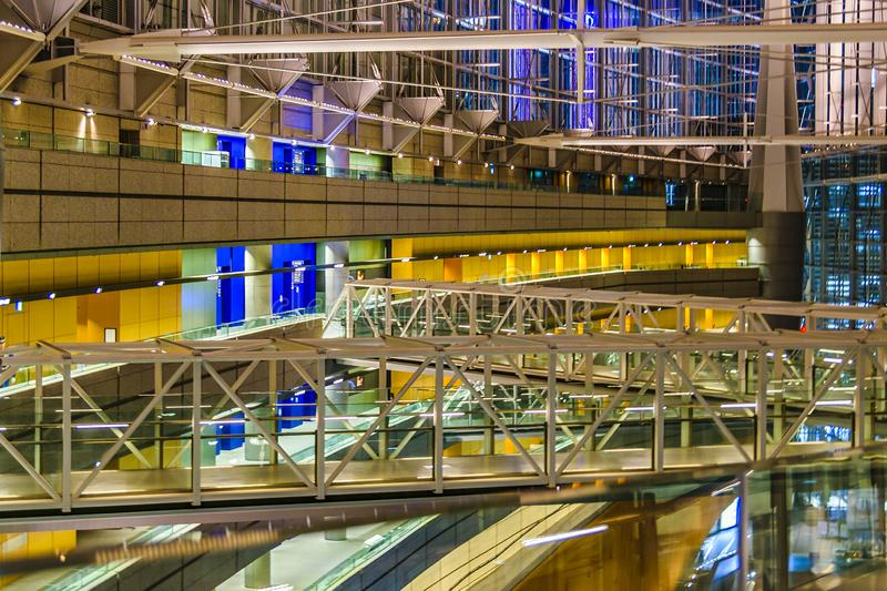 Tokyo Forum Building Interior View, Tokyo, Japan. TOKYO, JAPAN, JANUARY - 2019 - Interior view of famous tokyo forum building located at chyoda district, tokyo royalty free stock photo