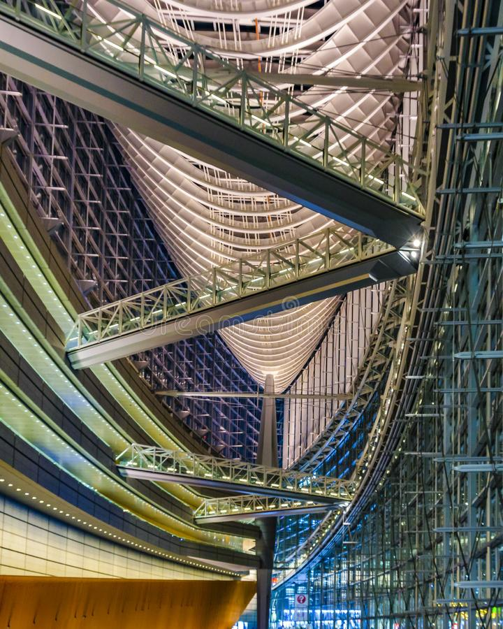 Tokyo Forum Building Interior View, Tokyo, Japan. TOKYO, JAPAN, JANUARY - 2019 - Interior view of famous tokyo forum building located at chyoda district, tokyo stock image