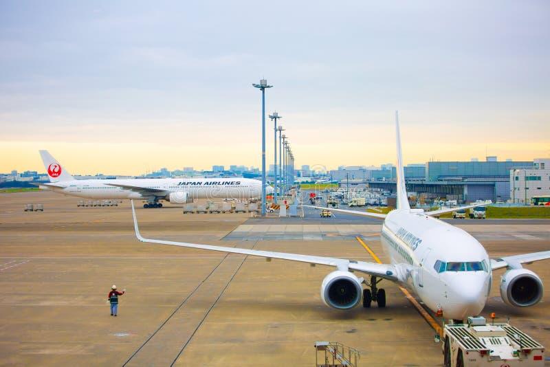 TOKYO, GIAPPONE - 26 NOVEMBRE 2018 Aereo del JAL o di Japan Airlines all'aeroporto internazionale di Haneda Di mattina fotografie stock libere da diritti