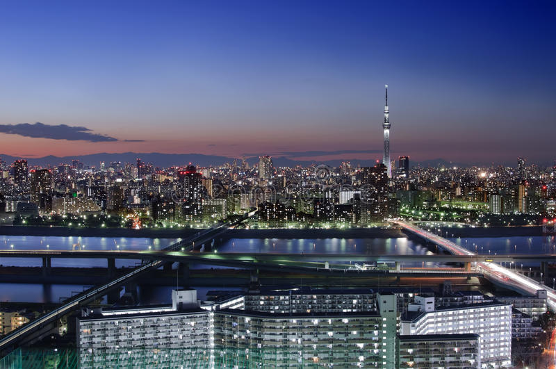 Tokyo horisont på solnedgången fotografering för bildbyråer