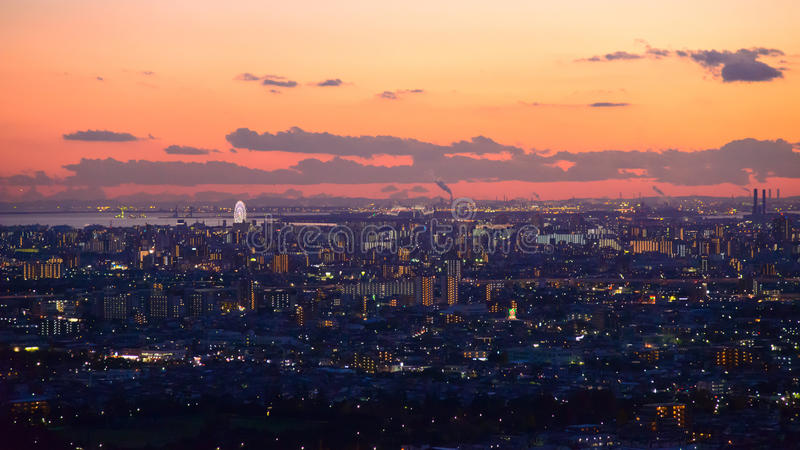 Tokyo i skymningen royaltyfri fotografi