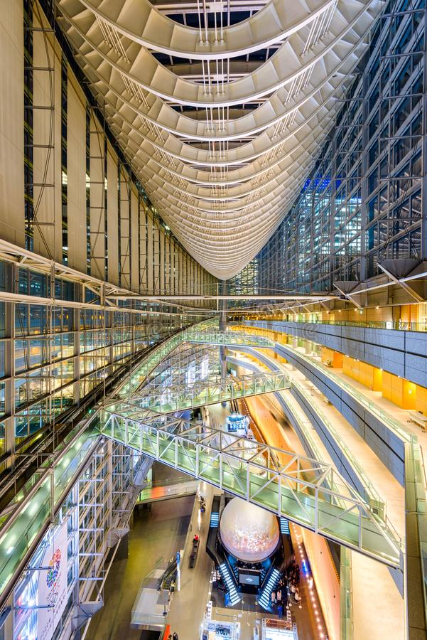 Tokyo International Forum. TOKYO, JAPAN - DECEMBER 16, 2012: The public hall of Tokyo International Forum. The multipurpse facility was completed in 1996 on the royalty free stock images