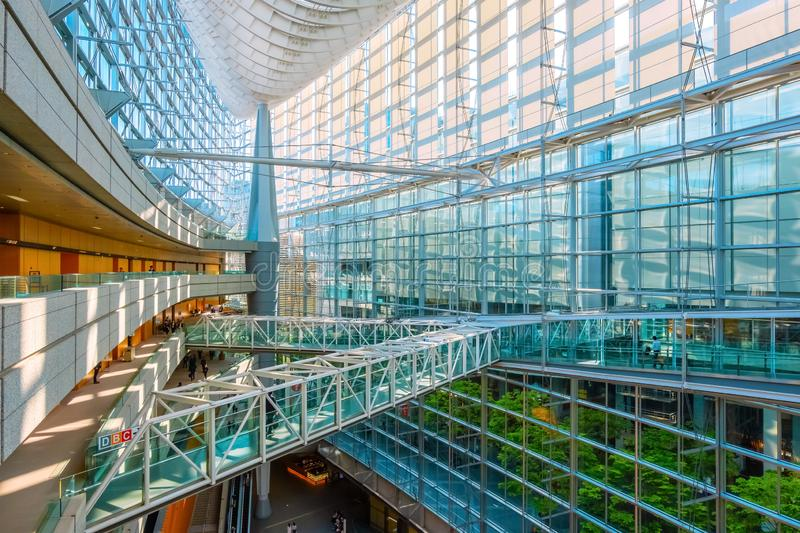 Tokyo International Forum - a multi-purpose exhibition center in Tokyo, Japan. Tokyo International Forum is a multi-purpose exhibition center, designed by royalty free stock image