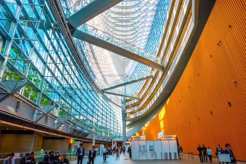 Tokyo International Forum - a multi-purpose exhibition center in Tokyo, Japan. Tokyo International Forum is a multi-purpose exhibition center, designed by royalty free stock image