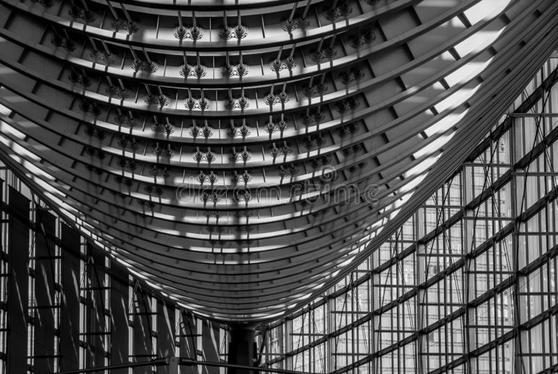 Tokyo International Forum - Roof Structure comprising steel and glass. Strength through ingenious design. Roof and windows of Tokyo International Forum - a stock photography