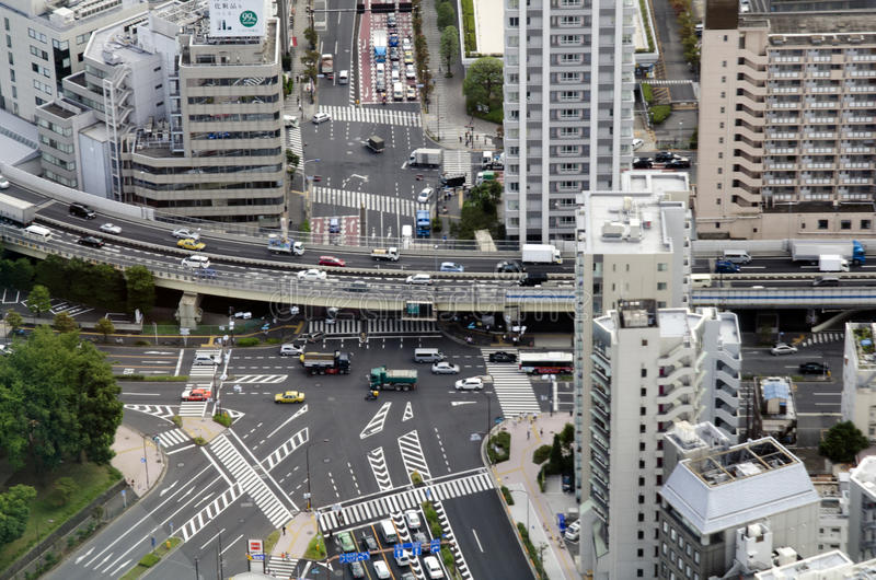Tokyo Intersection from above royalty free stock photography