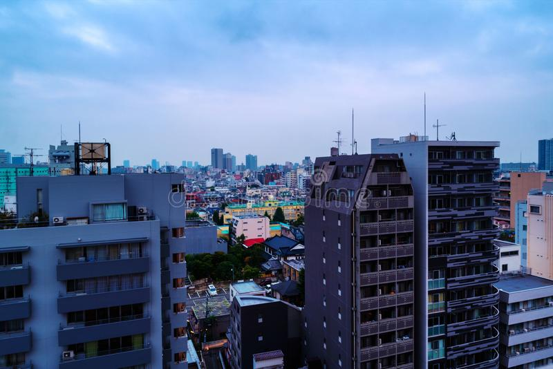 Aerial view of skyscrapers in Shinjuku area in Tokyo, Japan. Morning with cloudy sky royalty free stock image