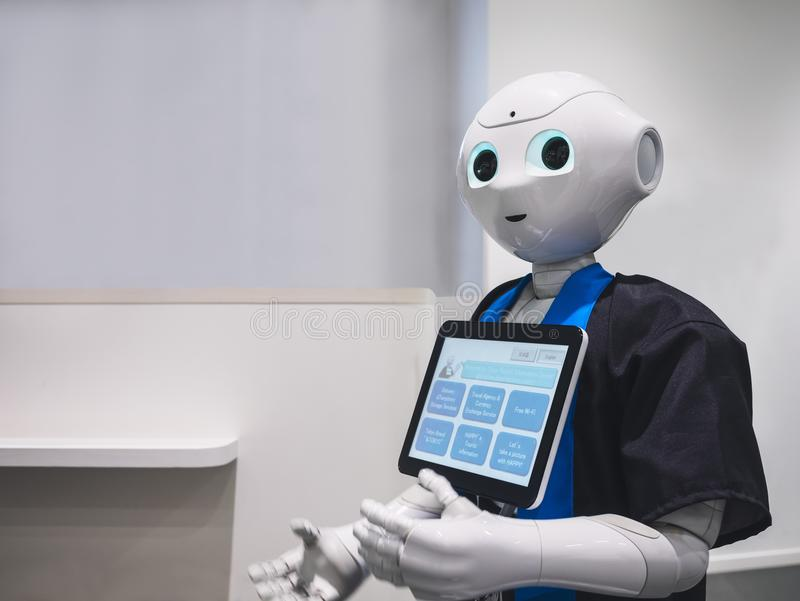 TOKYO, JAPAN - APR 13, 2018 : Pepper Robot Assistant Humanoid Technology. TOKYO, JAPAN - APR 13, 2018 : Pepper Robot Assistant Humanoid display Information royalty free stock photos