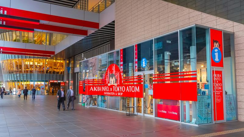 AKIBA INFO x TOKYO ATOM in Akihabara, Tokyo, Japan. AKIBA INFO x TOKYO ATOM on the 2nd floor of Akihabara UDX opened on April 5, 2017 sells animation related royalty free stock photo