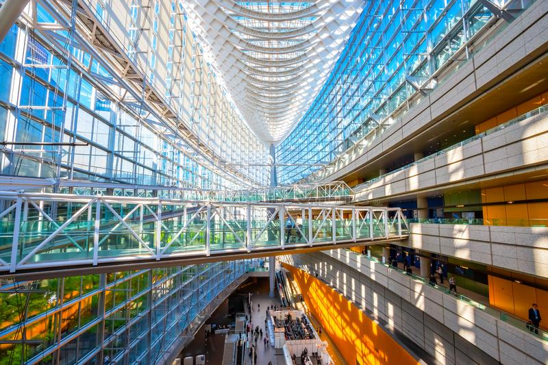 Tokyo International Forum - a multi-purpose exhibition center in Tokyo, Japan. Tokyo, Japan - April 28 2018: Tokyo International Forum is a multi-purpose stock photo