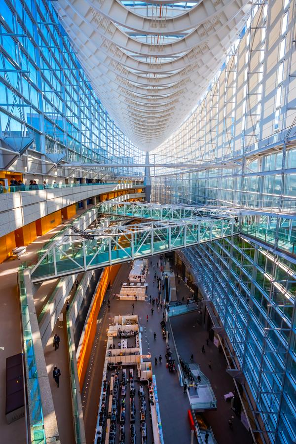 Tokyo International Forum - a multi-purpose exhibition center in Tokyo, Japan. Tokyo, Japan - April 28 2018: Tokyo International Forum is a multi-purpose royalty free stock image