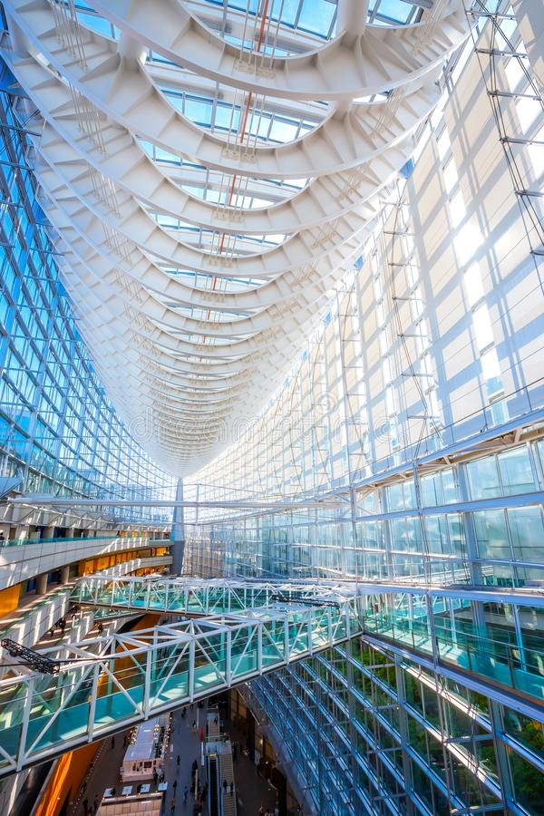 Tokyo International Forum - a multi-purpose exhibition center in Tokyo, Japan. Tokyo, Japan - April 28 2018: Tokyo International Forum is a multi-purpose stock image