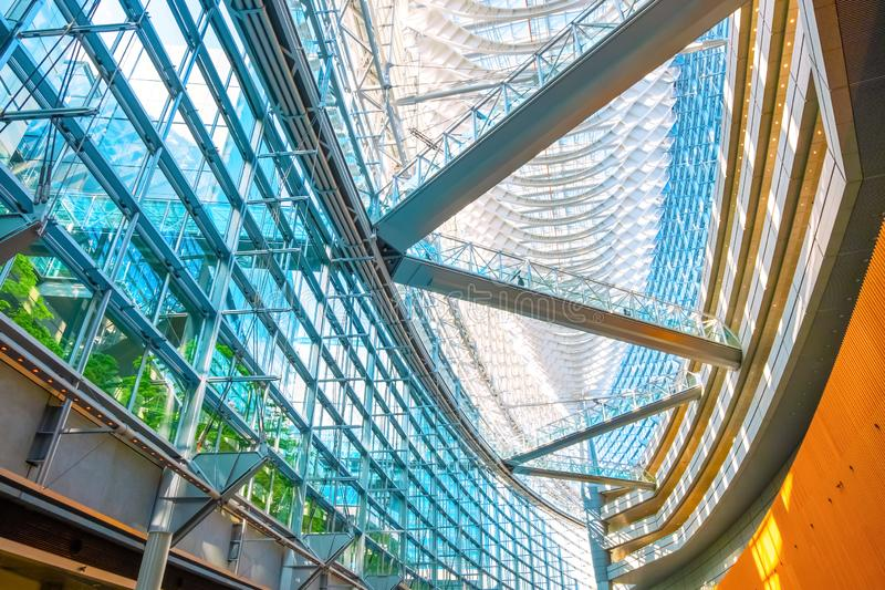 Tokyo International Forum - a multi-purpose exhibition center in Tokyo, Japan. Tokyo International Forum is a multi-purpose exhibition center, designed by stock image