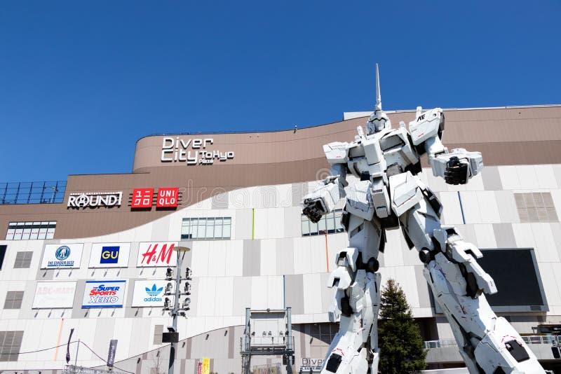 TOKYO, JAPAN - April 28, 2019, RX-0 Unicorn Gundam statue in normal mode located at Diver City Tokyo Plaza Tokyo stock photo