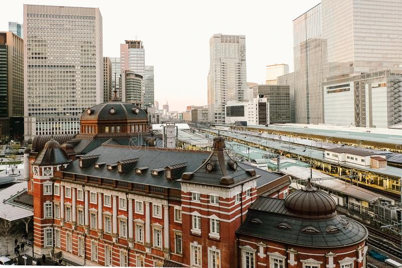 Tokyo, Japan - April 3, 2019: Tokyo Station opened in 1914, Beautiful  Tokyo Station the biggest and busiest railway station. In Japan royalty free stock images