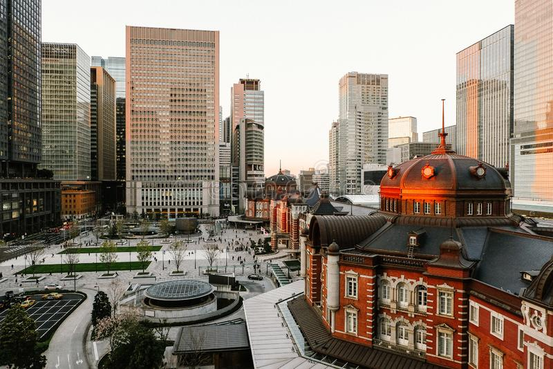 Tokyo, Japan - April 3, 2019: Tokyo Station opened in 1914, Beautiful  Tokyo Station the biggest and busiest railway station. In Japan stock photography