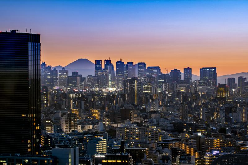 Tokyo, Japan - AUG 20 2019 - View of tokyo sky twilight with MT.fuji sunset royalty free stock image