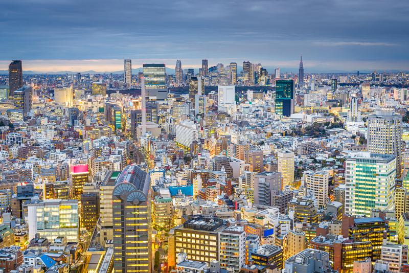 Tokyo, Japan cityscape view over the Ebisu District towards Shinjuku stock photo