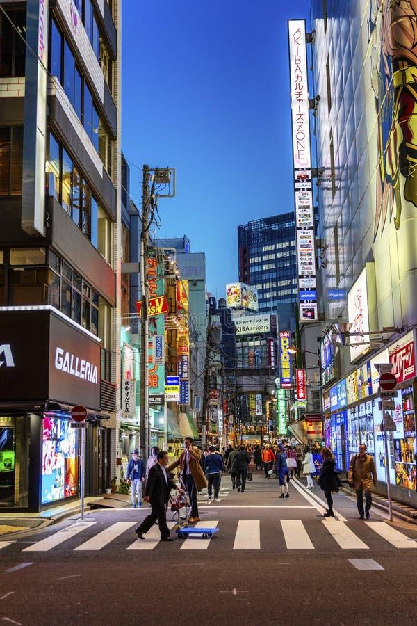 Tokyo, Japan 04/04/2017 De mensen lopen in de nachtstad stock afbeeldingen