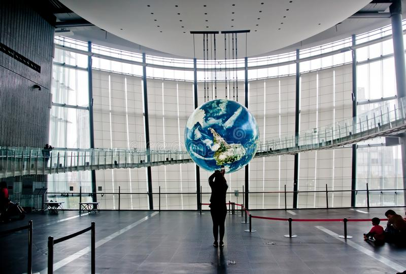 TOKYO, JAPAN - DECEMBER 2, 2018: Miraikan National Museum of Emerging Science and Innovation. The Geo-Cosmos floating earthsphere stock image