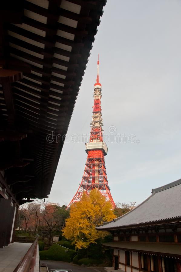 TOKYO, JAPAN - DECEMBER 1, 2018: Scene of Tokyo tower nearby Zojo-ji Buddhist temple. This is a famous temple. Which has the oldest wooden main gate in Tokyo royalty free stock photos