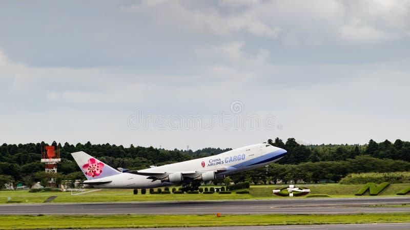 Tokyo, Japan - 08/02/2017: Een China Airlines-Lading Boeing 747 tak stock fotografie