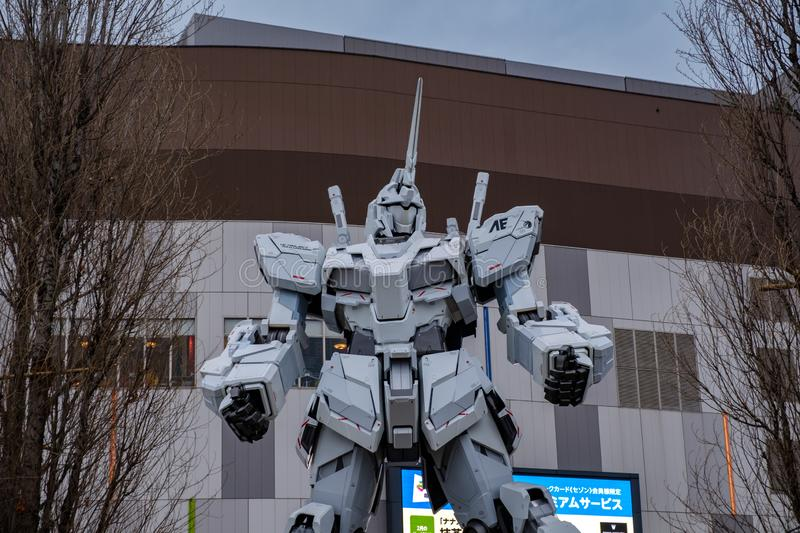 Gundam moving robot statue in Odaiba performing show stock image