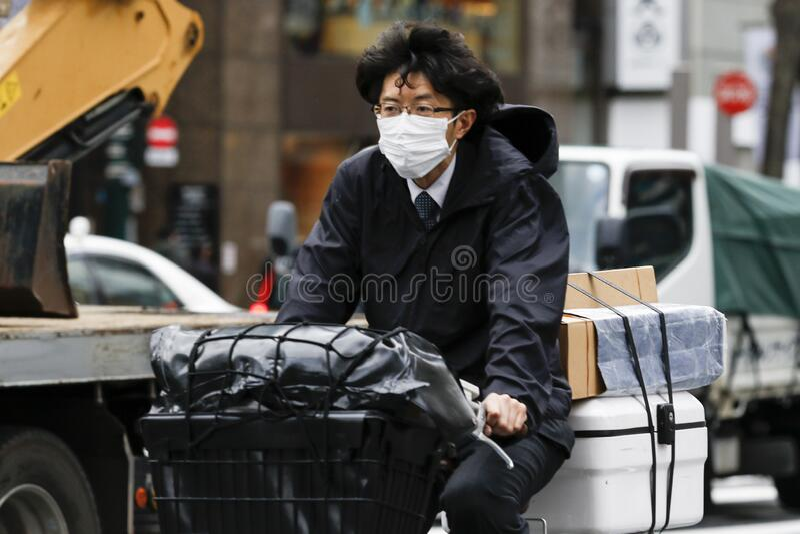 Anti-coronavirus prevention measures in Tokyo stock photo