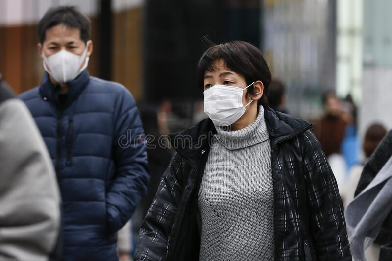 Anti-coronavirus prevention measures in Tokyo stock photos