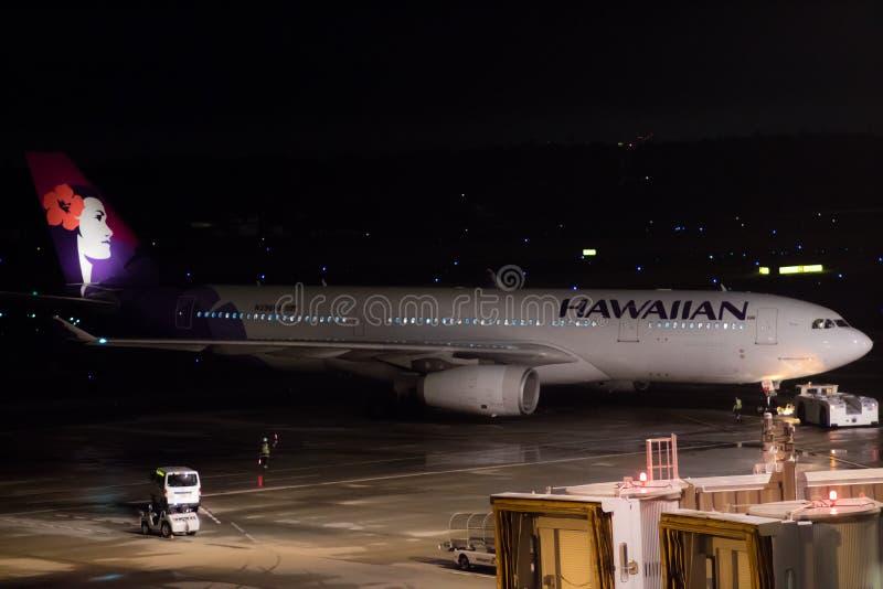 Tokyo, Japan - 08/01/2017: A Hawaiian Airline Airbus A330-200 ta stock photo