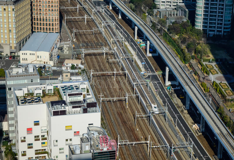 Aerial view of railway tracks in Tokyo, Japan royalty free stock images