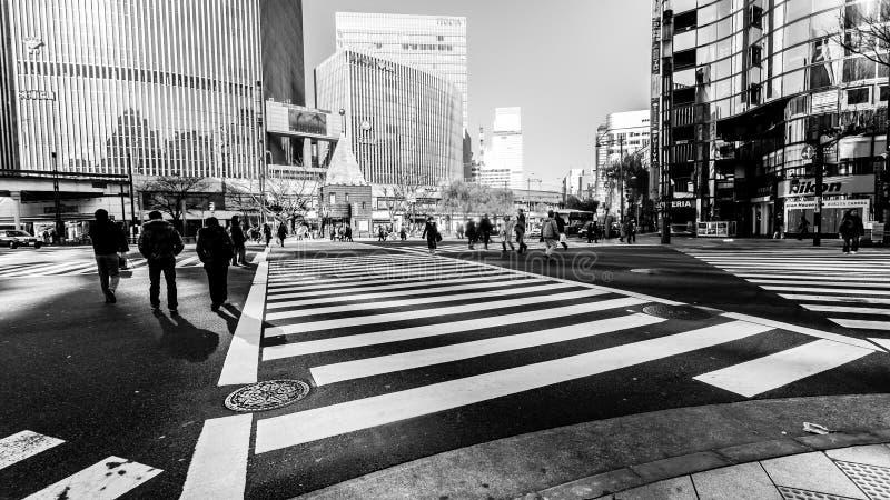 Tokyo, Japan - 1. Januar 2010: Fußgängerübergang die Straße im Herzen Ginza-Bezirkes in Tokyo Ginza-Überfahrt bis zum Tag lizenzfreie stockfotos