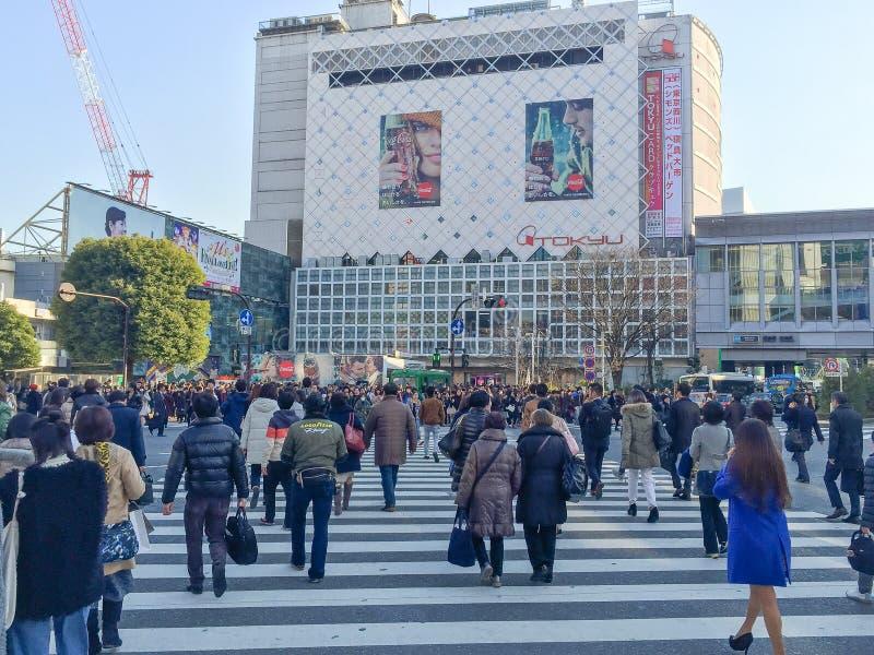 Tokyo, Japan - 28. Januar 2016: Fußgängerkreuz an Shibuya-Cr lizenzfreies stockfoto