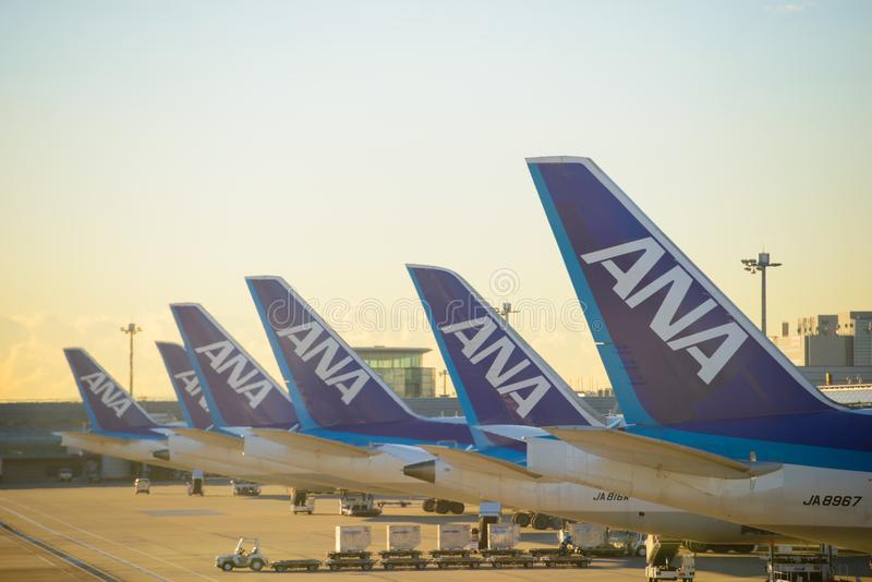 Tokyo, Japan - January 16, 2017 : All Nippon Airlines aircraft parked at Tokyo`s Haneda Airport at sunrise on January 16, 2017 royalty free stock image