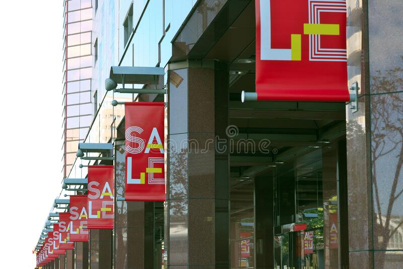 Banners of Winter Sale Announcement on pillars stock photography