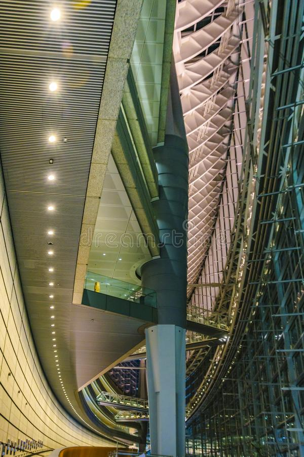 Tokyo Forum Building Interior View, Tokyo, Japan. TOKYO, JAPAN, JANUARY - 2019 - Interior view of famous tokyo forum building located at chyoda district, tokyo royalty free stock image
