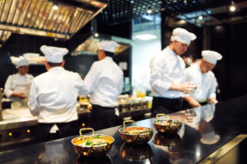 Tokyo, Japan - January 09, 2018: japanese chefs are cooking in the restaurant the most popular delicious japanese snack. Food in Japan royalty free stock images