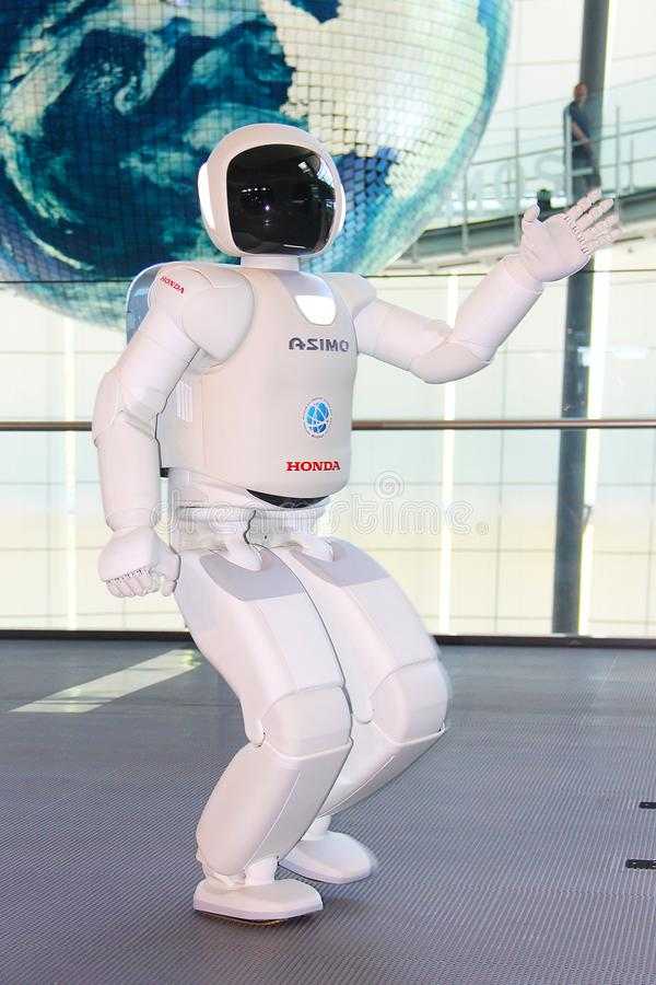 Tokyo, Japan - July 2, 2018 ASIMO robot - the famous android from Honda, located in the museum of the future Miraikan. royalty free stock photography