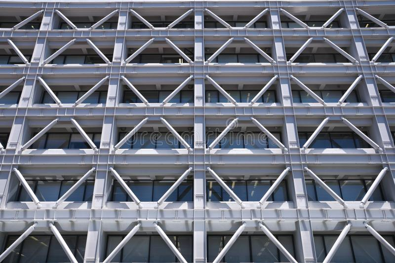 Seismic reinforcement or adhoc addition of structural support. Tokyo,Japan-July 2, 2018: A building with seismic reinforcement or adhoc addition of structural royalty free stock image