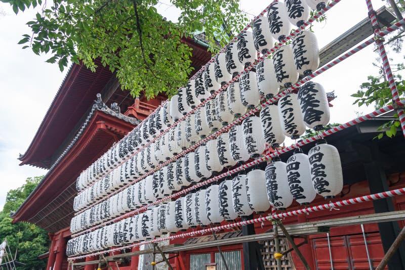TOKYO, JAPAN - July 23, 2015: Japanese paper lanterns illumination lamp in temple, tokyo, japan stock photography