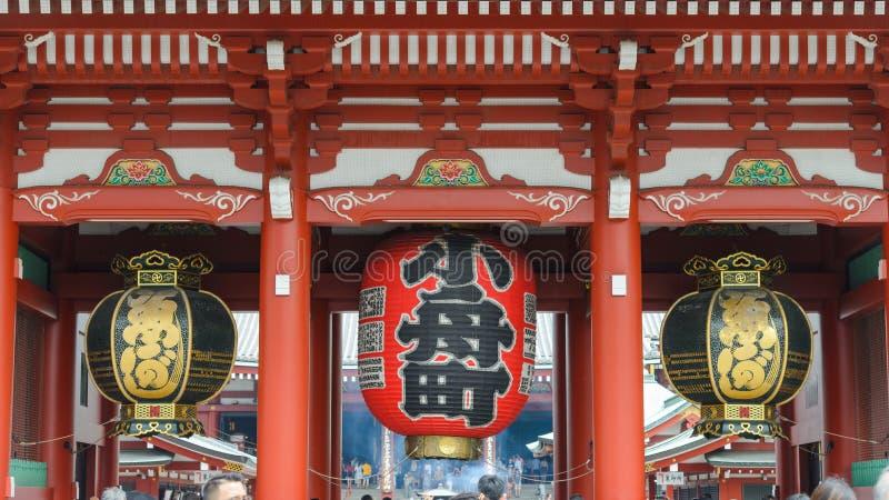 TOKYO, JAPAN -JULY, 2018: Kaminarimon, Big Japanese lantern hang over gate at Senso-ji buddhist temple stock image