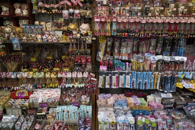 Tokyo - Japan, June 17, 2017; Souvenir shop in Nakamise Dori in. Side the temple grounds of Sensoji Temple, Asakusa royalty free stock photography