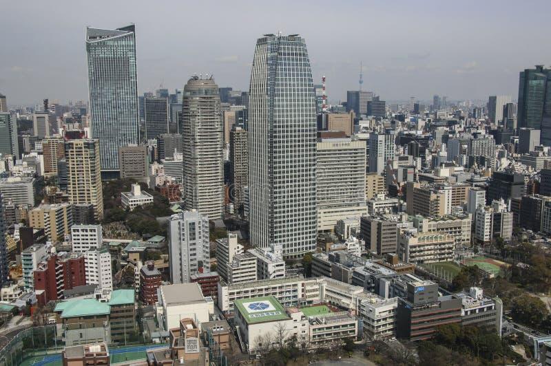 TOKYO JAPAN - MARS 25, 2019: Flyg- sikt på Tokyo från det Tokyo tornet arkivbilder