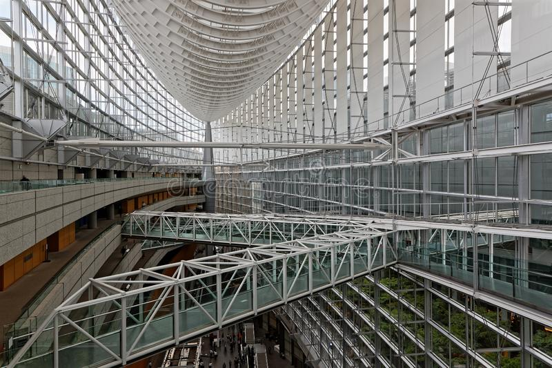 The Tokyo International Forum Center. TOKYO, JAPAN, May 16, 2019 : The Tokyo International Forum Center is a multi-purpose exhibition center, built on the site royalty free stock images